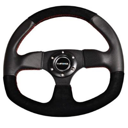 NRG Flat Bottom Style Steering Wheel with Suede Finish